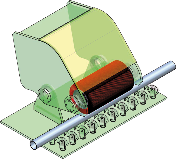 General working system on a round tube.